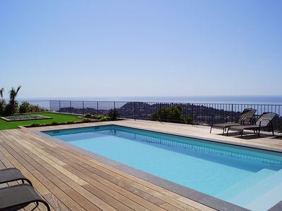 Photo for New house with modern architecture with pool and panoramic sea view.