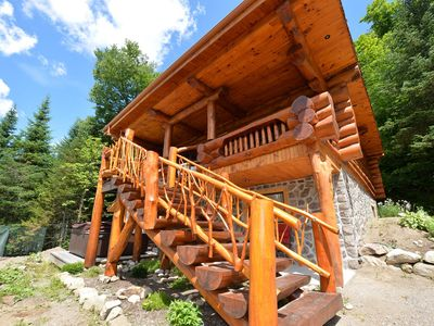 """Photo for """"Chalet Le Alexandre"""" handbuilt buy the owner , loghome directly on golf course"""