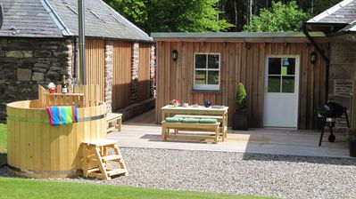 BBQ, Dine and Soak in the Hot Tub, enjoying Views from a Sunny, Sheltered Deck