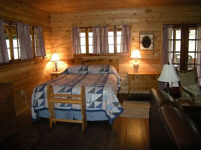 Of our two queen beds, this one is in the interior portion of the cabin.