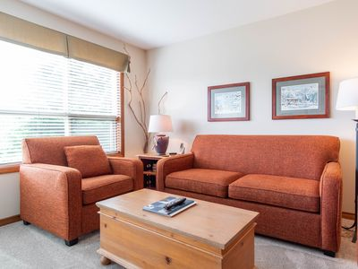 Photo for Ski-in/Ski-out 1BDR Condo with Pool & Hot Tub | Enjoy views of the Ski Hill from Patio/ Living Room