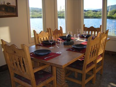 Dining room looking out over lake and mountains