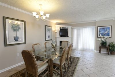Dining area with gas fireplace