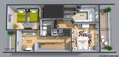 3D color floor plan, second living level in 3 story townhouse