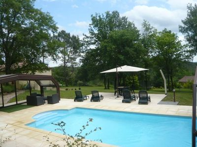 4 star gite, fabulous, heated pool, sunny terrace, loungers, garden and view
