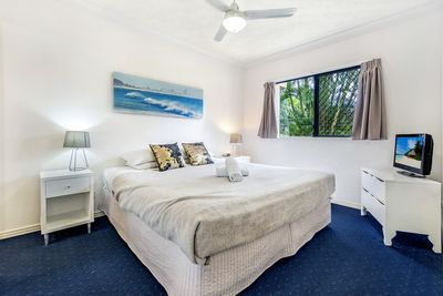 Large King Bed with TV in Main Bedroom