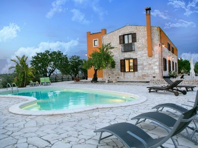 Photo for Beautiful villa with pool and views of the Ionian Sea and the Mediterranean