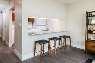 Kitchen Italian marble counter with seating for three.