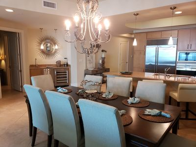 dining area - beautiful dining for 8, breakfast bar and also a wet bar with wine refrigerator and ice maker