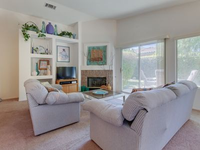 Photo for Desert escape 1.5 miles from Empire Polo Club w/ shared pool & hot tub, tennis!