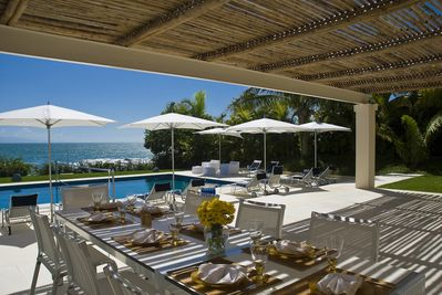 Pool-side Lunch in Bamboo shade