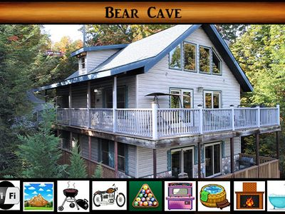Photo for Bear Cave - Excellent Views / Hot Tub / WiFi / Pool Table / Arcade Game