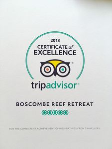 Proud owners of a 2018 Certificate of Excellence Flat 11 Boscombe Reef Retreat