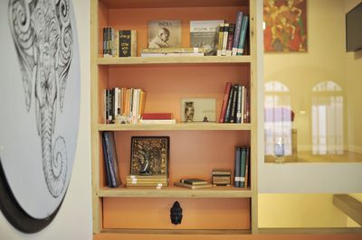 Library with unique books and art
