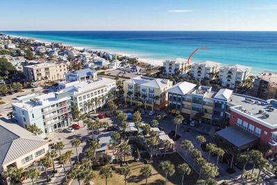 Aerial photo showing Gulf Place across the street and the view from your villa!