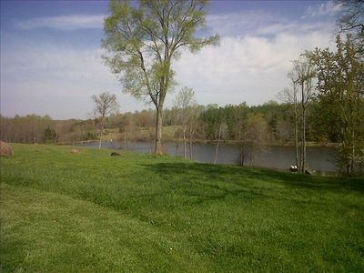 Spring view of lake from the back yard