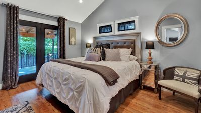 Master Suite with King Bed & French doors leading to the huge deck!