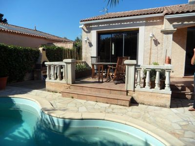 Photo for 3 bedrooms villa with pool in pretty village between Montpellier and Sète