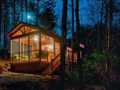Photo for Wooded tiny retreat for fall! Private hot tub and gazebo/fire pit area (Cabin F)