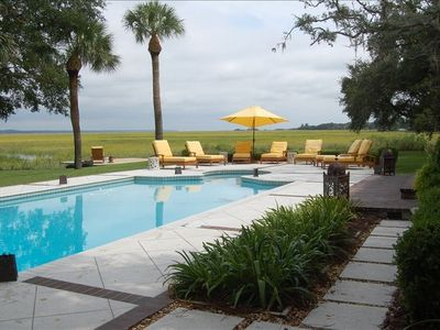 Photo for Marsh Front Cottage with Fabulous Pool & Outdoor Living Space