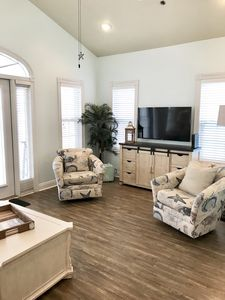 Living area on 3rd floor.  Beautiful Gulf views from the deck!  Dolphin watch!