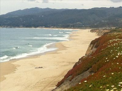 Our BEAUTIFUL BEACH as seen from Poplar St bluff in Half Moon Bay near our home