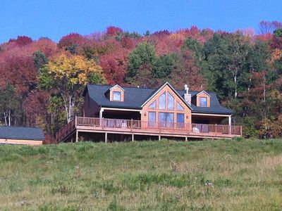 Photo for Large log home with 5 bedrooms, 4 baths, sleeps 12+, 2 large 60 ft. decks,hot tu