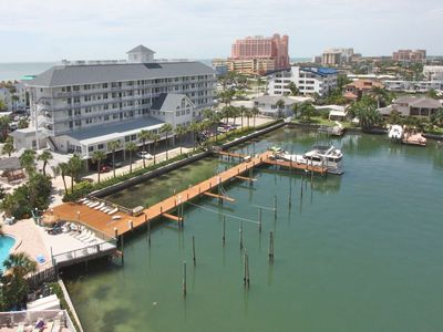 Photo for Waterfront Pet Friendly, Private Balcony, Walk to Everything! Pool, W/D, Wi-Fi & Cable-403 Dockside