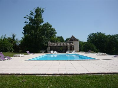 Photo for luxury gite for couples, no children. Peace, great views, large pool and spa.