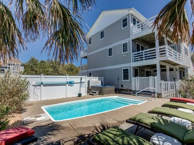 Photo for Loafing Around In Duck | 1250 ft from the beach | Private Pool, Hot Tub