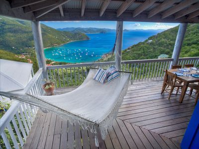 Hammock view over Cane Garden Bay from Makere House 12-foot wrap around deck.