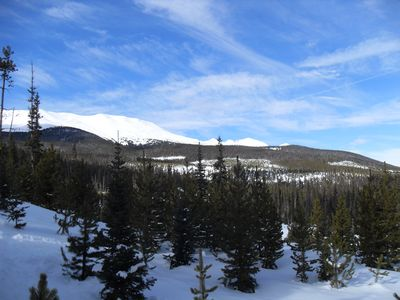 View of mountains from snowshoe trail