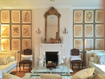 Living room filled with Fench antiques and modern accents