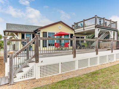 Photo for 4 Bed/3 Bath Cottage, sleeps 10.  Beautiful views from upper deck.  Across street from beach.