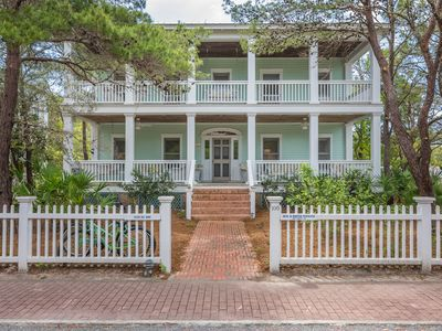 Photo for Classic in Seaside proper, plantation style, Gulf view + porches galore, Bikes
