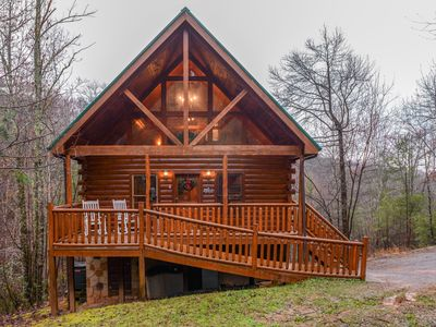 Photo for NEW LISTING! Log cabin w/hot tub, decks, pool table & fireplace-near attractions