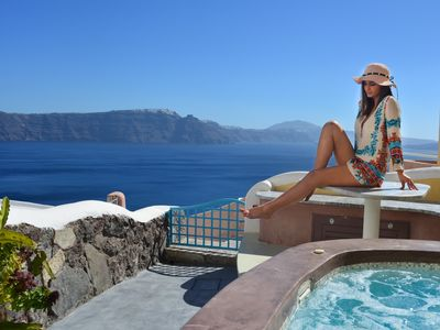 Photo for SantoriniParadise: PARADISE cave house, indoor winery & outdoor hot tub, Caldera