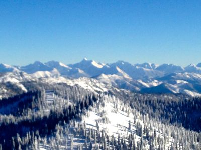 The view of Glacier Park and the Rockies from the top of the ski hill.