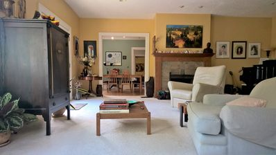 Living room from couch looking to dining room