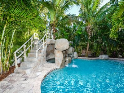 Photo for Very private backyard with rock water slide, 1.5 blocks off the beach