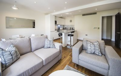 The flat greets you with a bright, gorgeous and bright open plan living space.
