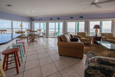 A large living area with panoramic views of the Gulf beach in Alabama