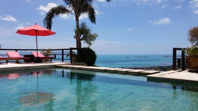 View from pool out over Bophut and Bang Rak beaches.