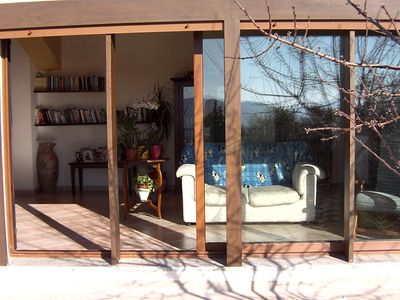 A sliding door takes you directly into the garden from the living.