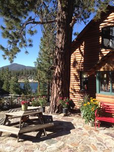 Photo for First-Tier Lakefront Log Charmer! Lakeview Spa In Gazebo,Fireplace,Deck,Sledding