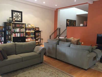 """Great room with library, games, 50"""" television with music and DVD library."""