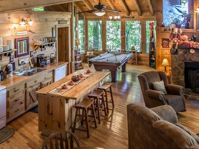 Photo for Pet-friendly cabin with hot tub, fireplace, jetted tub, & free passes to local attractions.