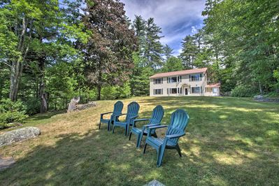 This vacation rental offers a peaceful location right on Little Wilson Pond.