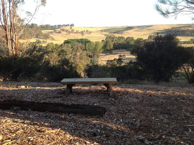 Sitting benches are located throughout the property