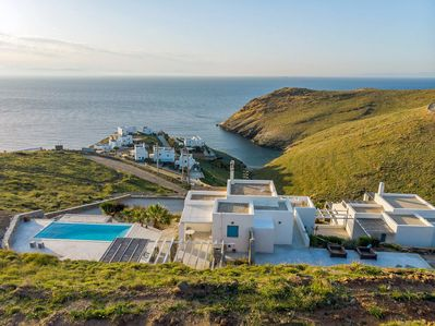 The villa, with a private swimming pool and panoramic sea view